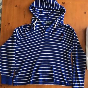 Polo Sweater / Sweatshirt Blue and White Stripped